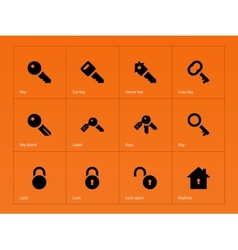 Key icons on orange background vector