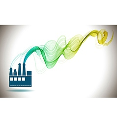 Factory icon and abstract color wave vector
