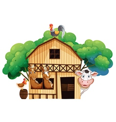 A farmhouse with animals vector image