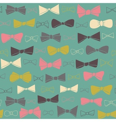 Cute seamless pattern of colored bows on green vector