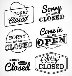 Open and closed business labels and badges vector