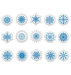 Blue snowflakes icons stickers labels set vector