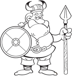 Cartoon viking holding a spear and a shield vector