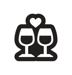 Flat icon in black and white wine glasses vector