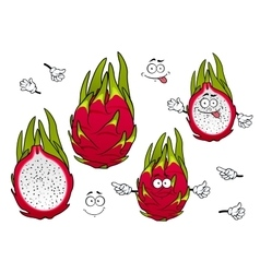 Vivid exotic pitaya fruits cartoon characters vector