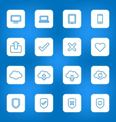 Line web icon set on white rounded rectangle vector