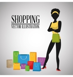 Shopping design commerce icon colorful design vector