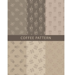 Mosaic Set Of Seamless Coffee Themed Patterns vector image