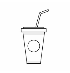 A soft drink in paper cup with lid and straw icon vector