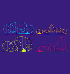 amusement park roller coaster color silhouettes vector image
