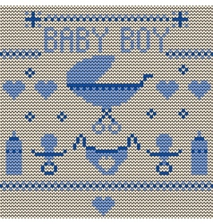 Baby Boy Knitted Background vector image