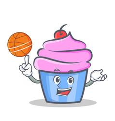 basketball cupcake character cartoon style vector image