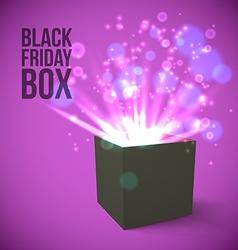 Black box with magic lights vector