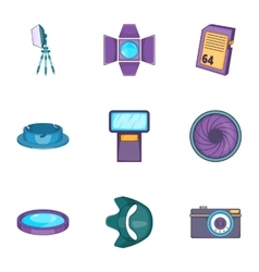 Camera accessories icons set cartoon style vector