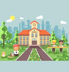 Children characters schoolboys vector