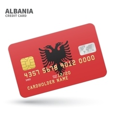 Credit card with albania flag background for bank vector