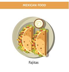 Delicious fajitas with garlic sauce from mexican vector