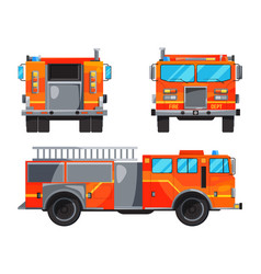 Different sides of fire truck specific vector