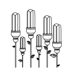 energy-saving light bulbs plant icon vector image