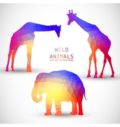Geometric silhouettes animals elephant giraffe vector