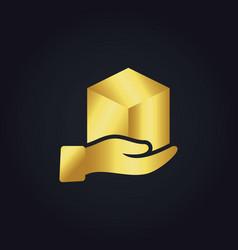 Gold gift box hand logo vector