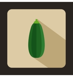 Green zucchini vegetable icon flat style vector