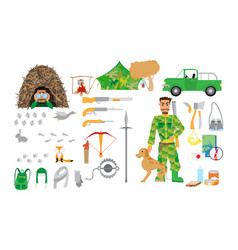 hunting equipment set in flat style isolated on vector image vector image