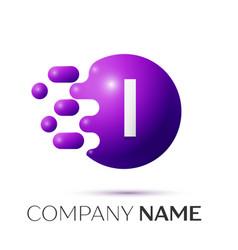I letter splash logo purple dots circle bubble vector