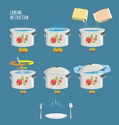 Instruction cooking Home Cooking Recipe cooking vector image