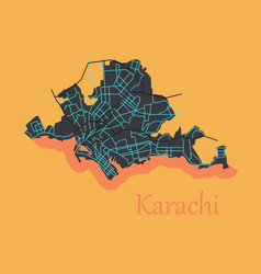 Karachi pakistan colorful flat map streets vector