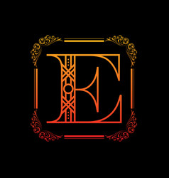 Letter e with ornament vector