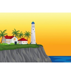 light house and appartment near water vector image vector image