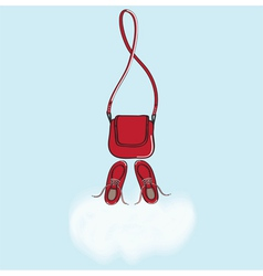 Red handbag and shoes with cloud copyspace vector image