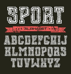 Serif font in the style of college vector