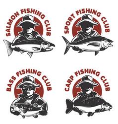 Set of fishing club labels templates fisherman vector