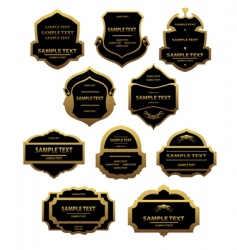 set of golden labels and frames vector image vector image