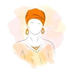 Silhouette woman in orange turban vector