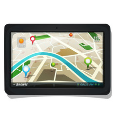 Street map with gps pins on tablet pc screen vector