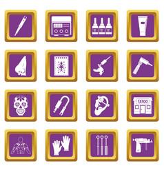 Tattoo parlor icons set purple vector
