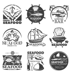 Seafood emblem set vector