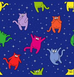Seamless pattern with funny cats on starry sky vector
