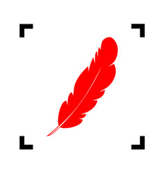 feather sign red icon inside vector image