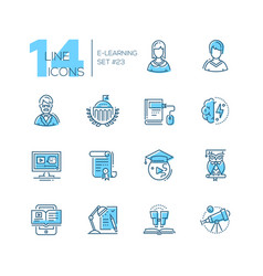 Elearning- coloured modern single line icons set vector