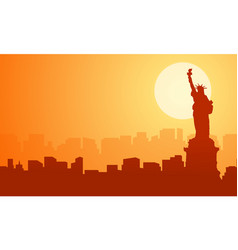 scenery liberty building at sunset silhouettes vector image