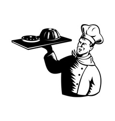 Chef cook baker holding serving pastry bakery vector