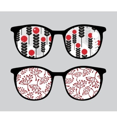 Retro sunglasses with brunches reflection in it vector