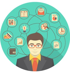 Modern Businessman Concept in Turquoise Circle vector image