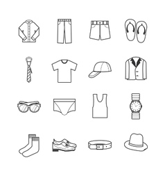 Gent clothes icons vector