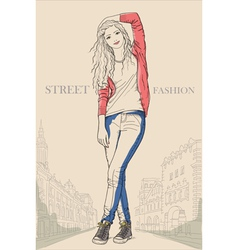 Young girl standing on the street street fashion vector image