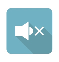 Square muted loudspeaker icon vector